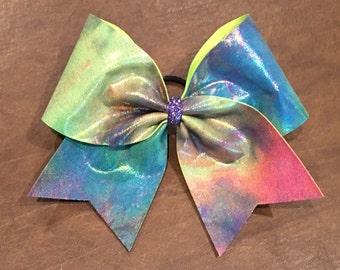 Cheer Bow - Neon Tie Dye