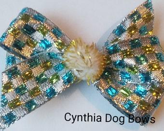 Christmas Dog Bow- BIG Boutique Bow-Blue Silver Gold Metallic