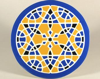Ceramic Trivet - Hot Plate - Moroccan Tile Trivet - Mandala Trivet - Art Tile - Wall Tile - Star of David Trivet - Decorative Tile
