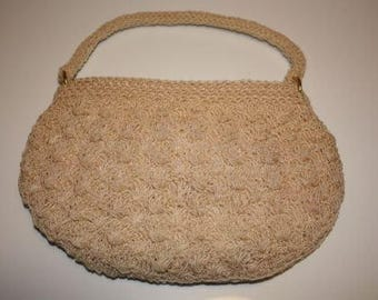 Vintage Beaded handbag with short strap - Ivory