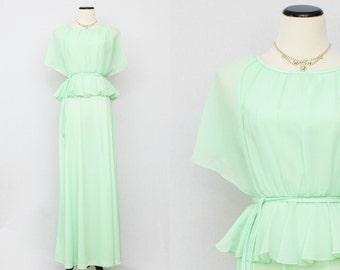 Pale Mint Green Chiffon Dress - Vintage 1970s Peplum Flutter Sleeve Maxi Dress