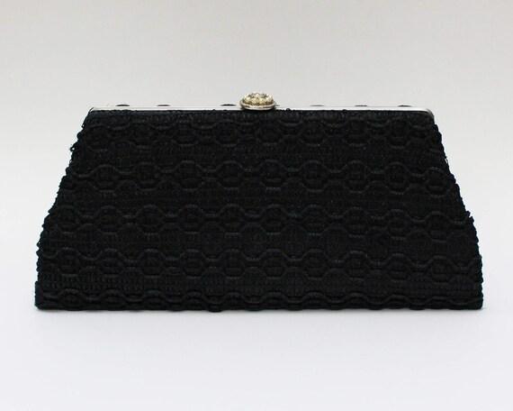 60s Black Woven Straw Clutch - Vintage 1960s Woven Raffia Evening Bag
