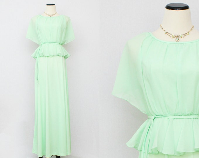 Vintage 1970s Mint Green Chiffon Dress - Size Medium