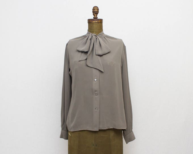 Grey Kitten Bow Blouse - Vintage 1960s Bow Neck Button Down Silky Top
