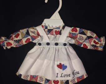 Dress and Apron for 15 INCH Raggedy Ann Doll; Navy Heart Patchwork Print dress with embroidered apron