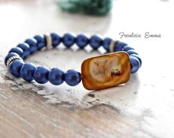 Bracelet RAINBOW blue stretch boho honey Pearl mother of Pearl blue layering