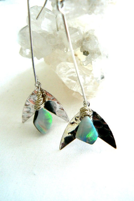 Australian opal silver earrings- Stone gemstone drop earrings- Sterling silver flower opal earrings- Fashion stone earrings- Women gift