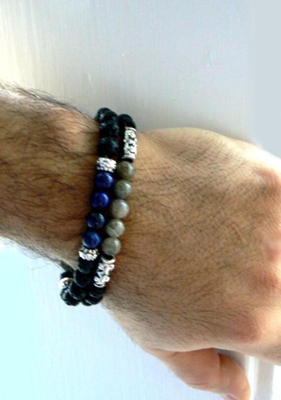 Lava stretch gemstone bracelet- Labradorite bracelet- Black grey stone men bracelet-boho jewelry- Fashion rustic accessory-Men bracelet gift