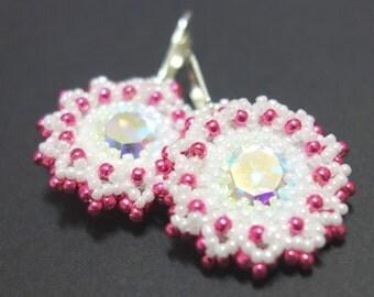 Earring white pink sparkling Rivoli stone Flower Earrings