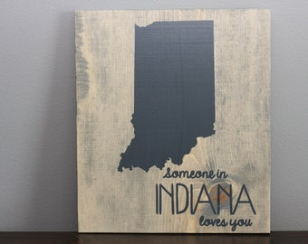 Handmade Wooden Sign | State Sign | Long Distance Relationship Gift | Grey