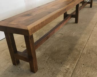 Bench reclaimed wood dining bench seat