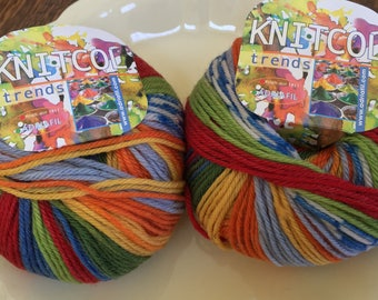 Adriafil KnitCol Yarn, Color 053 Kandinsky Phantasy, 2 Skeins, Self Striping, Self Patterning, Made in Italy, 100% Wool, Unused With Tags