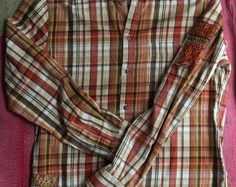 Vintage Womens oversized Autumn Plaid 100% cotton Flannel Shirt hand embroidered vintage floral sari patch Three Whiskers Farm