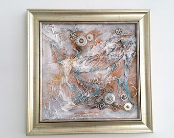 Steampunk Storm, Original Abstract Acrylic Painting, Silver Paintings,Framed Ready to Hang, Original art, Paintings, Watch parts, Vintage