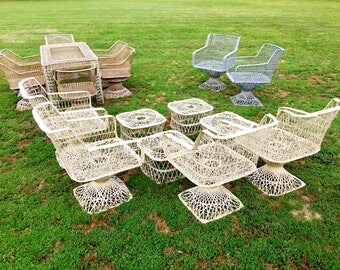 Mid Century Modern Patio Outdoor Furniture HUGE LOT Russel Woodard Spun Fiberglass Dining Table 6 six Swivel Chairs 6 Lounge 4 Ottomans
