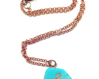 Mothers Day Gift, Treble Clef Engraved Turquoise Pendant Necklace Jewellery/Jewelry Engraved Musician Nice gift Brass Chain