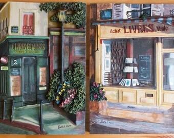 Parisian Storefronts - Set of Two - 3D Resin - Livres Estampes - Bookstore - Paris France - Wall Decor