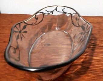 Vintage Art Nouveau Silver Overlay Glass Serving Dish