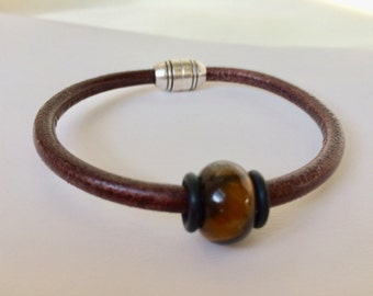 Brown Round Leather Bracelet Unisex Men Women Tiger Eye  Leather Antique Silver Zamac Clasp European Jewelry Cool Accessories Gift  Him Her