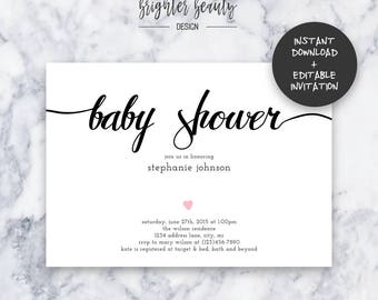 Simple Pink Baby Shower Invitation   INSTANT DOWNLOAD   Editable PDF  Do It Yourself   Printable