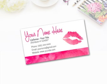 Lip Print Business Card - Consultant Tools - LipSense - Personalized Watercolor