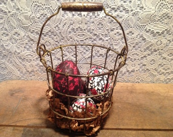 Wire Basket with Decupaged Eggs
