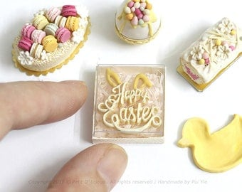 RESERVED for Debbie- Dollhouse Miniature Happy Easter Bunny Ears Lettering Cookies Gift Box