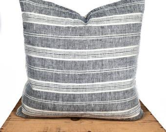 "Grace 100% European Linen Pillow Gray Stripe 20x20"""
