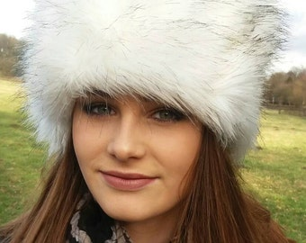 Husky Faux Fur Hat with Black Tips Russian Style with Cosy Polar Fleece Lining