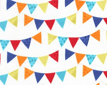 Party Pennants C5118 Ivory Cotton Fabric by Timeless Treasures! [Choose Your Cut Size]