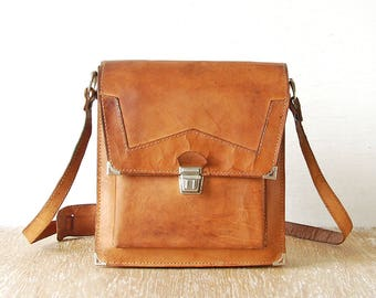 Vintage Brown Leather Mens Handbag, 70s Messenger Tan Leather Bag, Cross Body Brown Men's Bag, Old Shoulder Bag