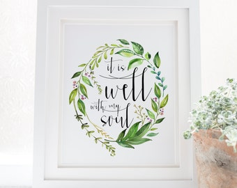 It is well - with my soul - Hymn lyrics - Scripture Art - Bible Verse - Verses for Women