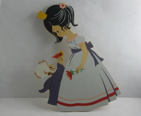 1968 wooden picture for children's room. mertens art N 1001. Snow white