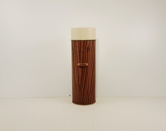 Vintage 1960s King Seely Thermos, wood grain pattern
