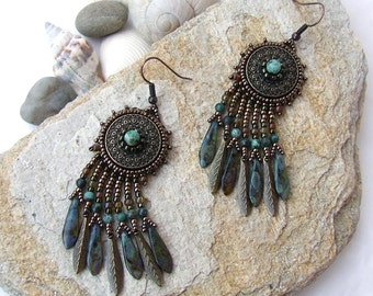 Boho Earrings, Dangle Earrings, Bead Embroidery Earrings, Ancient Earrings, Bohemian Earrings, Birthday Gift for Her, Blue Gemstone Earrings