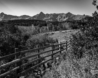 Rocky Mountain Art, Colorado Print, Fence and Mountains, Telluride, Black-and-Whjite, Ranch Photography, Ranch Print, Mountain Wall Art