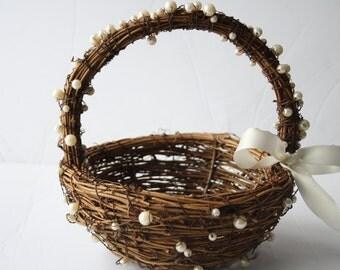 Flower girl basket wedding basket Rustic wedding decor Flower basket twig basket  Woodland wedding HERMIA