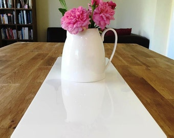 Rectangular Table Runner in White Gloss Finish 3mm Acrylic - 2 Sizes Available