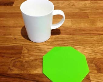Octagon Shaped Lime Green Gloss Finish Acrylic Coasters