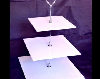 Square Shaped Three Tier Silver Rod Acrylic Cup Cake / High Tea Cake Stand - In Various Sizes and Colours