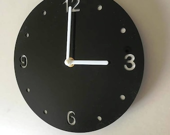 "Round Black & White Clock - White Acrylic Back, Black Gloss Finish Acrylic with White hands, Silent Sweep Movement.  Sizes 8"" or 12"""