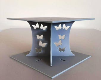 """Butterfly Square Light Grey Mat Acrylic Cake Pillars/Cake Separators, for Wedding/Party Cakes 10cm 4"""" High, Size 6"""" 7"""" 8"""" 9"""" 10"""" 11"""" 12"""""""