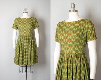 Vintage 1950s 1960s Dress | 50s 60s Cotton Polka Dot Medallion Print Green Brown Full Skirt Day Dress (medium)