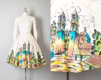 Vintage 1950s Circle Skirt   50s Mexican Novelty Print Cotton Sequin Hand Painted Scenic Souvenir Skirt (small/medium)