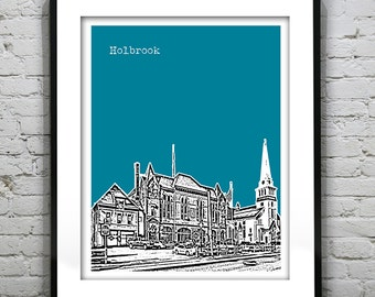 Holbrook Massachusetts Skyline Poster Art Print MA