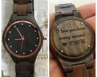 engraved womens wooden watch, womens watch, women's watch, valentines day, personalized women's wood watch, anniversary, mothers day gift