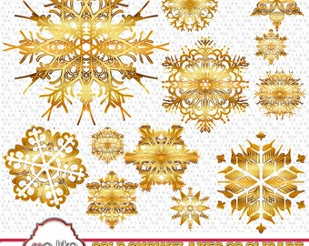 Digital Gold Snowflakes Clip Art -INSTANT DOWNLOAD- 30 Individual Png Embellishments -Clipart for Personal or Commercial Use  - 300 DPI