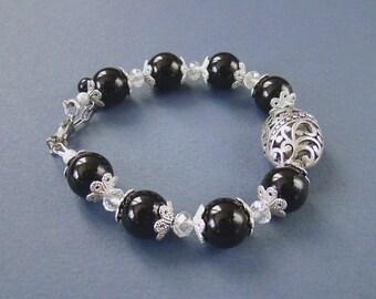 Black onyx bracelet Bohemian Natural stones bracelet Gift for her Fancy Gemstone jewelry Magic talisman Black stones elegant bracelet