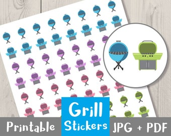 Grill Stickers, Printable Planner Stickers, Grilling Stickers, Gas Grill, Charcoal Grill, BBQ Stickers, Barbecue Stickers, Summer, PCookout