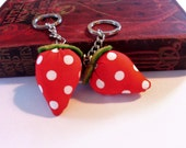 Strawberry keyrings fabric key ring key chain key fob cute keyring